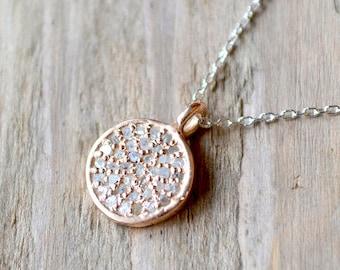 diamond pave disc necklace /// tiny rose gold diamond disc and sterling silver  - genuine diamonds /// april birthstone
