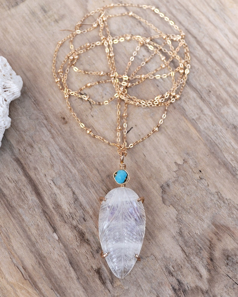 Rainbow Moonstone macrame necklace  pendant ethnic jewelry natural stone Bohemian chakra energy gemstone hippie