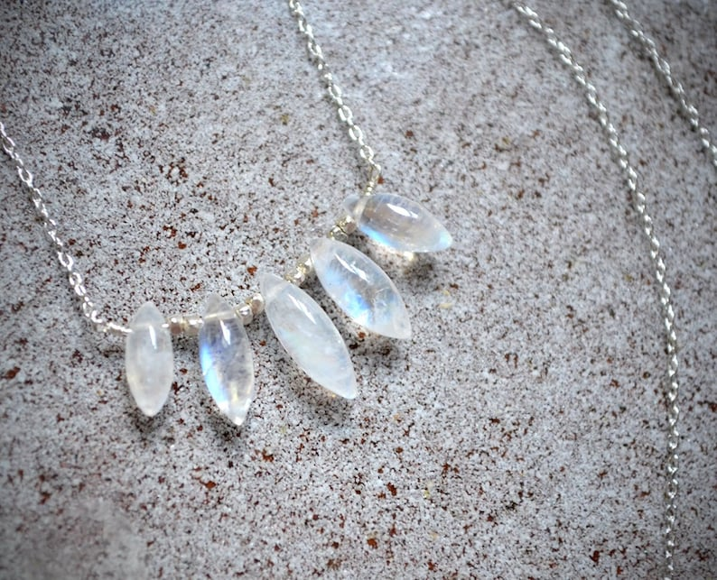 062495646a75f2 Rainbow moonstone drops necklace /// delicate everyday   Etsy