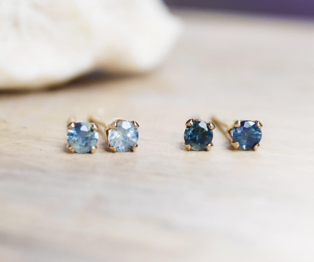 tiny blue sapphire stud earrings 2 3mm natural. Black Bedroom Furniture Sets. Home Design Ideas