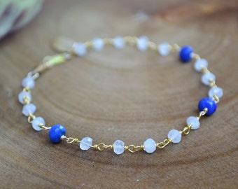rainbow moonstone and lapis lazuli gemstone bracelet /// personalized stamp tag /// beaded boho layering bracelet