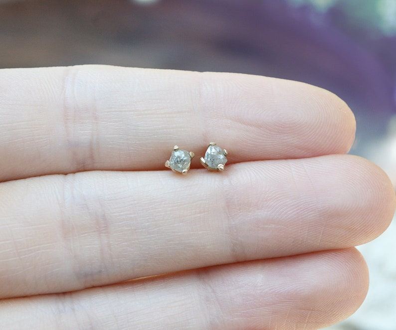 raw diamond stud earrings  tiny 3mm rough conflict free gray diamonds set in solid 14k gold  dainty diamond studs \u2022 april birthstone