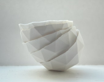 Geometric faceted polyhedron pure white bowl made from stoneware fine bone china -  geometric decor - ring dish - ring holder