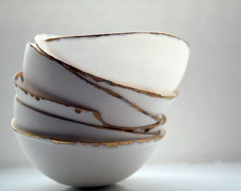 Fine bone china small stoneware bowl with real gold, white porcelain bowl,