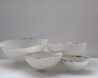 Set of 4 English fine bone china nesting stoneware bowls with real gold.