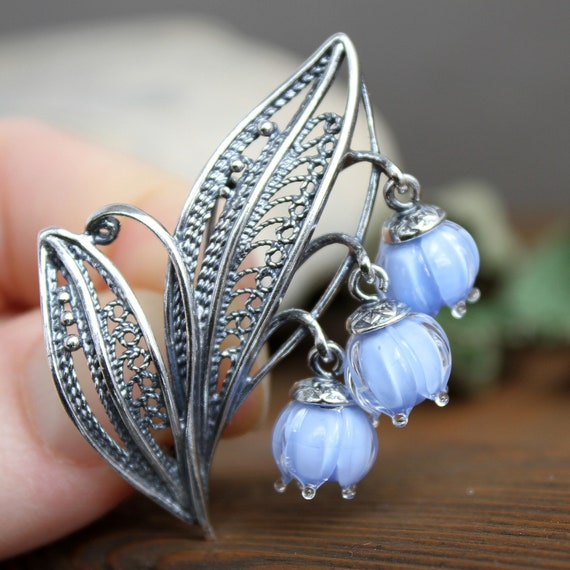 Brooch Lily of the valley jewelry Blue mothers day gift