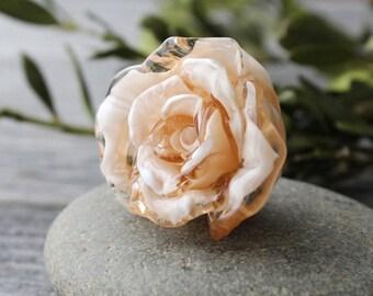 Lampwork Beads, 1 pc Rose Flower Bead, Lampwork Glass, Lampwork Flower Beads, Lampwork Flower, Rose, Handmade Lampwork