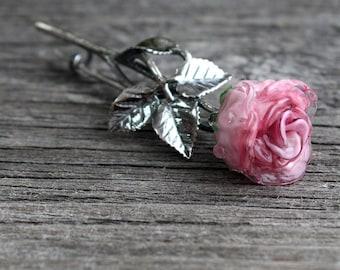 Brooch, Brooch Pin, Pin Brooch, Flower Lampwork Brooch, Rose Brooch
