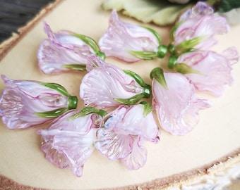 Glass Bell Flower Bead, 1 pcs Handmade Lampwork Glass Beads 20x15 mm Pink Flower Bead