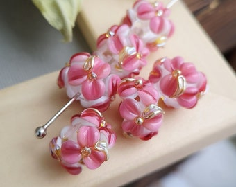 Lampwork Glass  Beads, 1 psc Pink Flowers Beads, Glass Beads, Lampwork Flower Beads