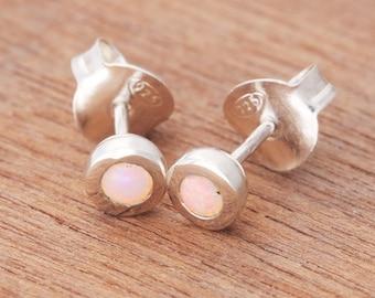 0.15ct Solid White Opal Earrings in