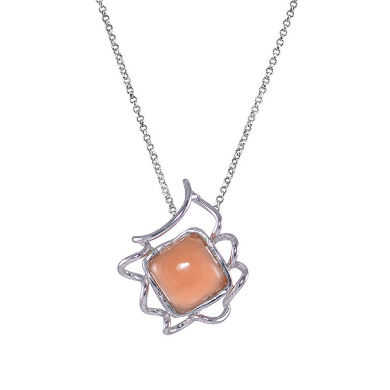 Raw Gemstone necklace pendant 7.5 Carat Orange Moonstone necklace sterling silver Rhodium plated chain