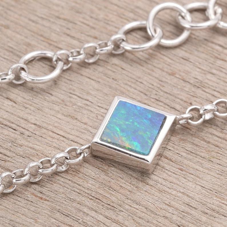 Blue Green Square Opal Bracelet 925 Sterling Silver 3.70 grams SKU BRC1995-1-925