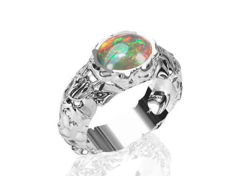 Unique Mens Ring 10x8mm Black Australian Opal Ring Bezel set Textured silver Ring