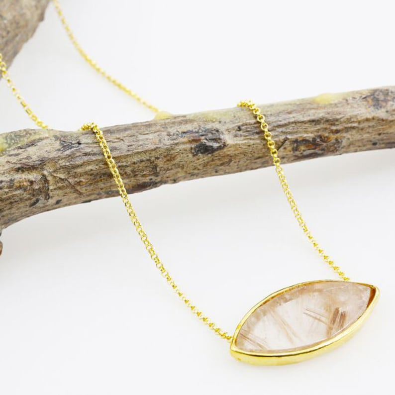 Handmade jewelry Gift Quartz Crystal Unique Necklace 65.5 Ct Evil eye Protective stone pendant 14K Yellow Gold Vermeil Layering necklace