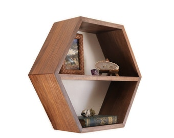 Honeycomb Shelf - Modern Furniture - Geometric - Minimalist - Hexagon Shelf - Floating Wall Shelf - Mid Century Modern - 1 XL Shelf