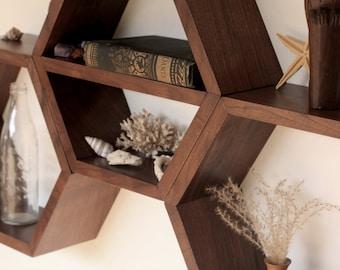 Hexagon Shelves, Hexagon Floating Shelves, Honeycomb Shelves, Geometric Wood Shelves, Modern Shelves, Wooden Shelves, Boho, 3 Large Shelves