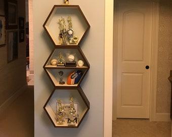 Geometric Wood Shelves, MidCentury Modern Shelf, Hand Painted Furniture, Floating Book Case, Hexagon Shelf, Book Storage Shelf, 3 XL Shelves