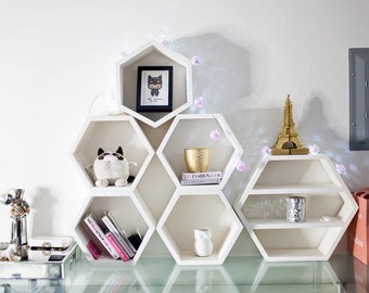 Geometric Wood Shelves, Mid Century Modern Shelf, Hand Painted Furniture, Floating Book Case, Hexagon Shelf, Book Storage Shelf, 3 XL Shelve