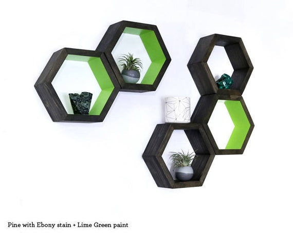 Hexagon Shelves Wood Floating Shelves Bathroom Shelves Etsy