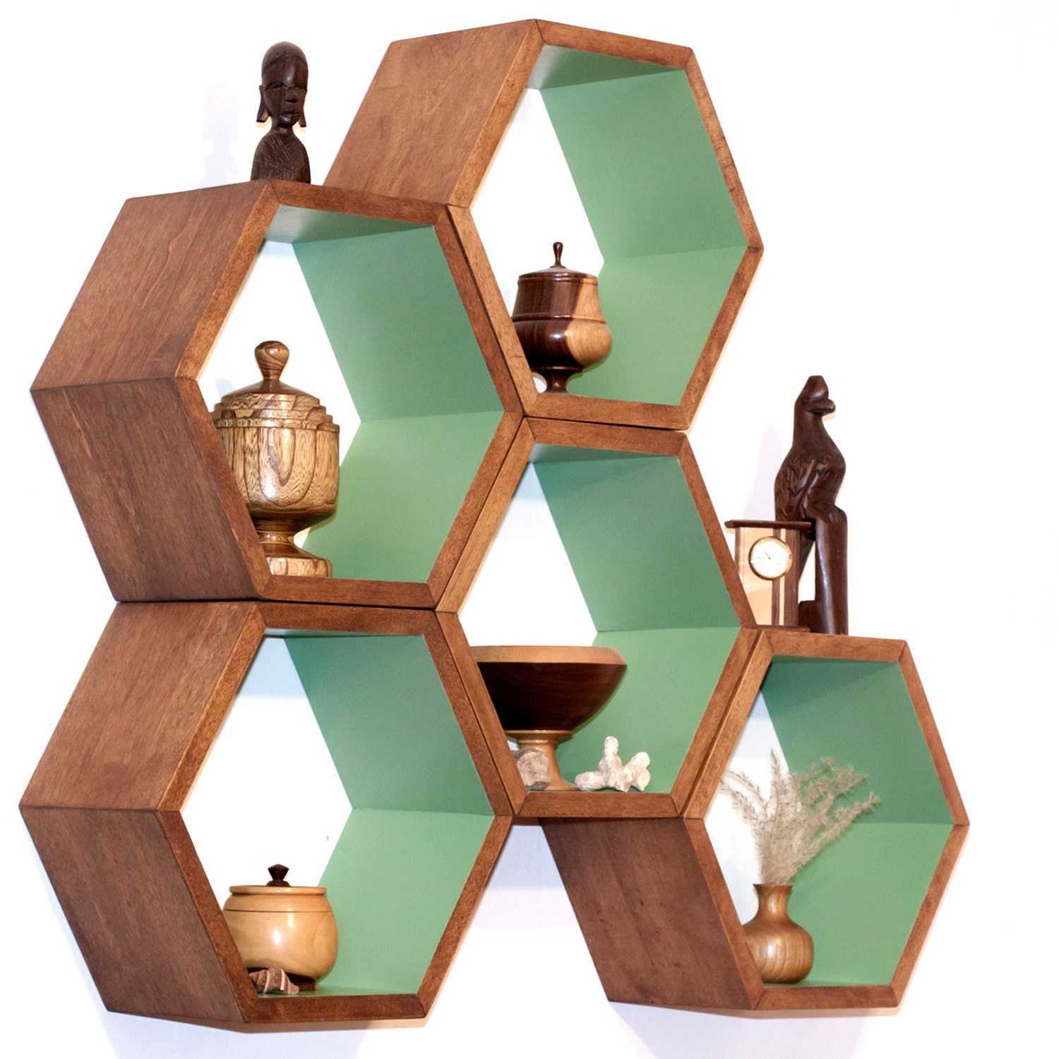 Hexagon Shelves, Toy Storage Shelving, Modular Bookcase, Honeycomb Shelf, Kid's Furniture, Eco-Friendly Book Shelves, Modern Shelve, 5 Large