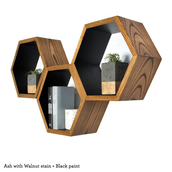 Wall furniture shelves Wood Image Amazoncom Honeycomb Shelves Book Shelf Modern Wall Shelves Geometric Etsy