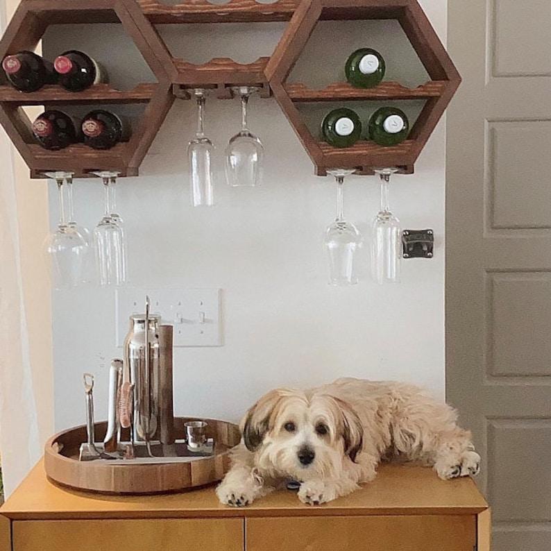 Wooden Anniversary Gifts Unique Hexagon Wine Rack Hanging Kitchen Storage Mid Century Modern Wine Lover Gift Idea Geometric Wall Decor
