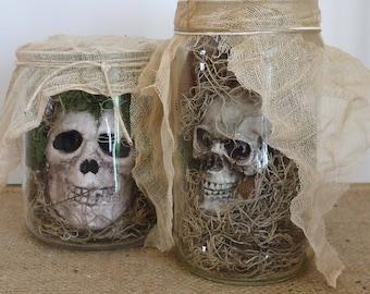 Creepy Halloween skulls, one of a kind, Specimen jars shrunken heads, graveyard, autopsy room, lab,voodoo, dark Halloween, adult scary