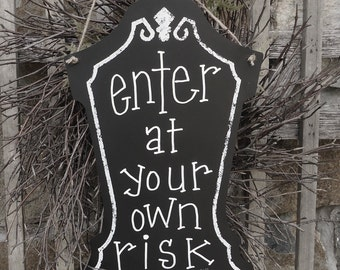 HALLOWEEN Tombstone Chalkboard Sign Message Board HAUNTED HOUSE PROP~FREE SHIP