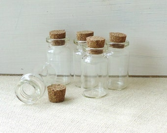 small glass bottles, Wicca, spell bottles, 5, miniature bottles, tiny glass bottles, poison, bottle jewelry, potion,