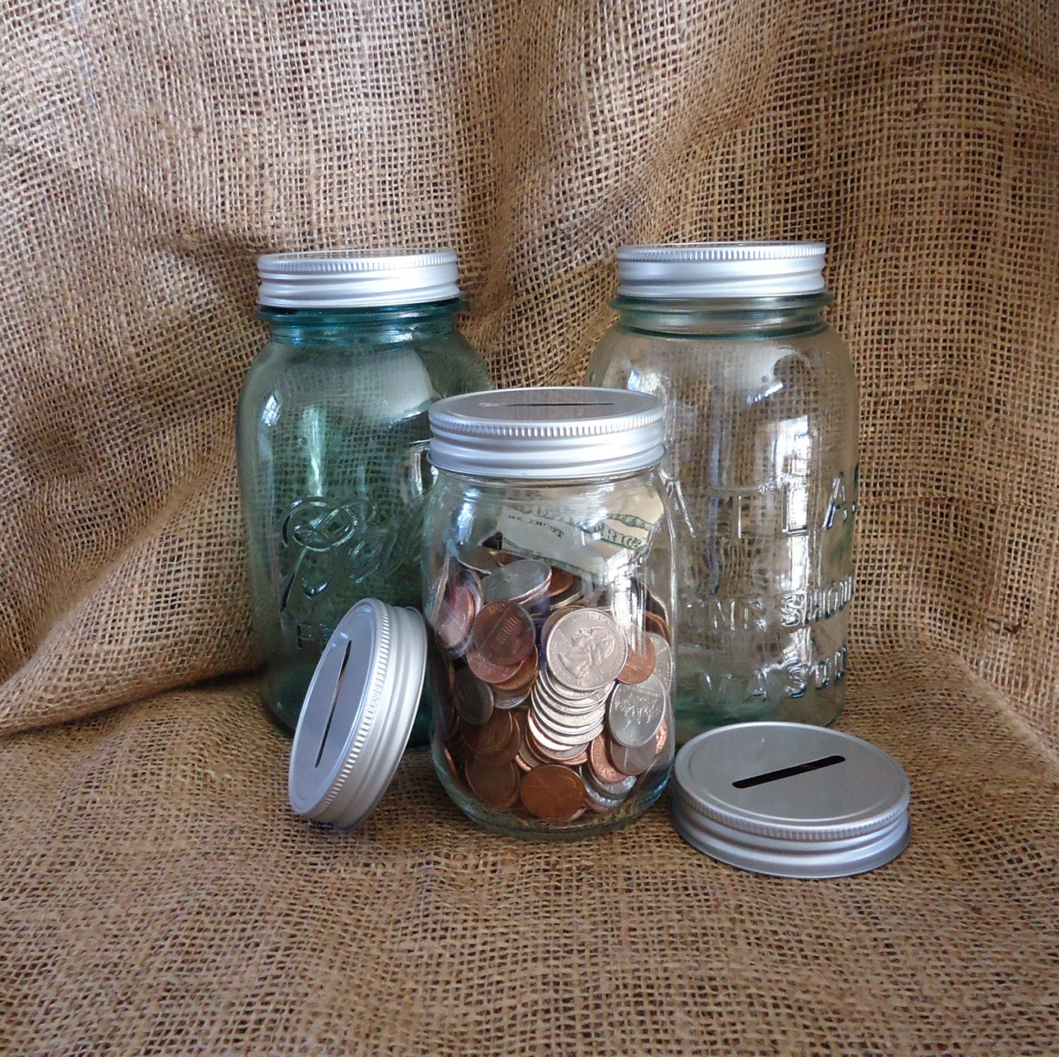Coin Jar Mason Jar Bank Farnhose Kitchen Piggy Bank Etsy