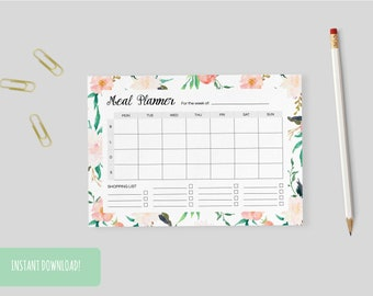 Meal Planner Floral Print | A4 and US letter size PDFs included – INSTANT DOWNLOAD