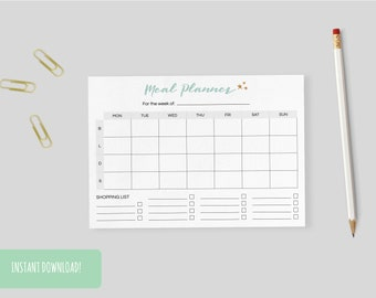 Meal Planner Stars | A4 and US letter size PDFs included – INSTANT DOWNLOAD