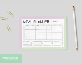 Meal Planner Retro | A4 and US letter size PDFs included – INSTANT DOWNLOAD