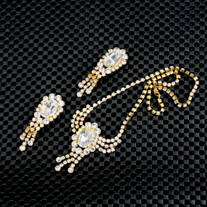 Rhinestone and Yellow Metal Earrings and Necklace in Presentation Box