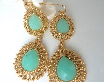 Aqua Mint Seafoam Blue Green Dangle Gold Filigree Bridesmaid Earrings Jewelry for her