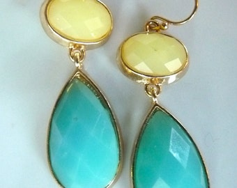 180 Swarovski Crystal Aqua Turquoise and Lemon Yellow Bright Dangle Earrings. Modern Jewelry For Her. Bridesmaids Gifts