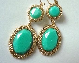 Mint Aquamarine Seafoam Textured Gold Edge Dangle Cocktail Jewelry. Dangle Earrings. Summer Wedding. Resort wear.