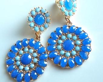 Royal Blue Light Baby Blue Aqua Ocean London Blue Teardrop Round Dangle Drop Chandelier Earrings. Jewelry Gifts For Her.
