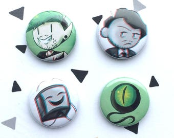 button set Darkiplier, Antisepticeye, Dark tiny box tim and Anti sam septiceye (anti and dark version)