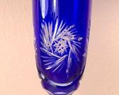 Bleikristall Cobalt Blue Crystal Cut to Clear Vine Flute Beyer West Germany