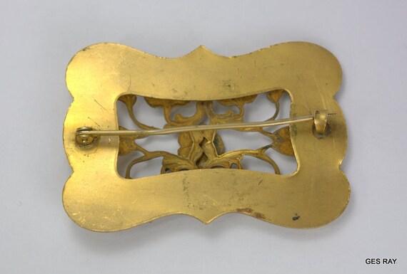 Art Nouveau Sash Pin Vintage Art Nouveau Brass Br… - image 3