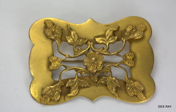 Art Nouveau Sash Pin Vintage Art Nouveau Brass Br… - image 2