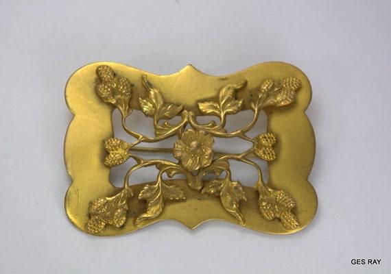 Art Nouveau Sash Pin Vintage Art Nouveau Brass Br… - image 1