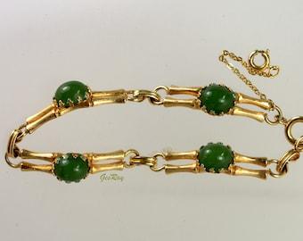 Vintage Jade Gold Bamboo Link Bracelet, Jadeite Nephrite Cabochon