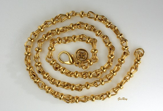 Givenchy Gold Chain Necklace, Vintage Givenchy Jew