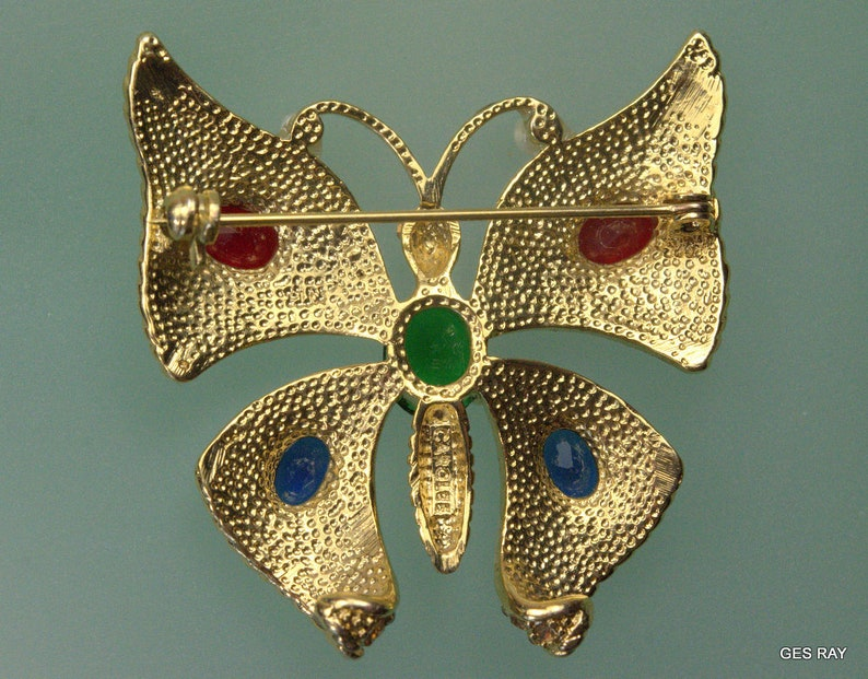 Vintage Carolee Butterfly Brooch Pin Crystal And Pave