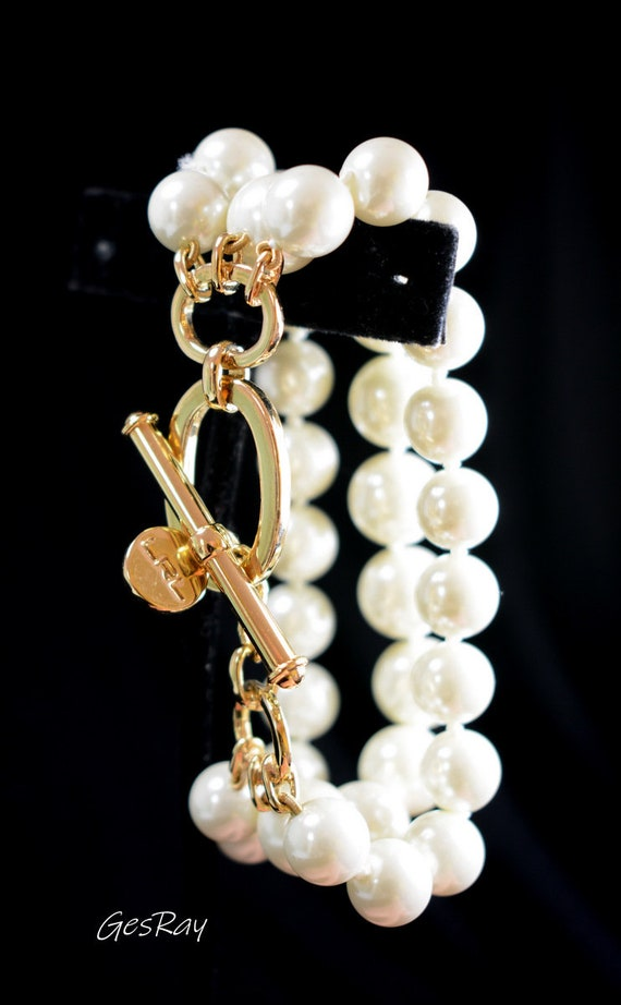 Vintage Lauren Ralph Lauren LRL Faux Pearl Bracele
