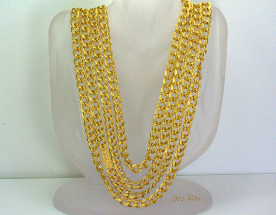 Monet Statement Necklace Gold Plated Couture Neckl
