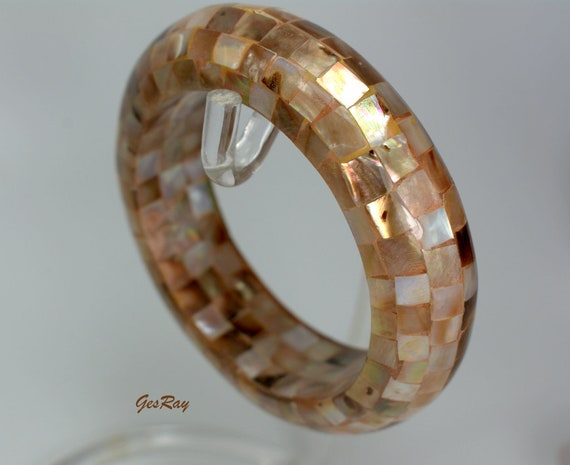 Abalone Shell Mosaic Bangle Bracelet Mother of Pea